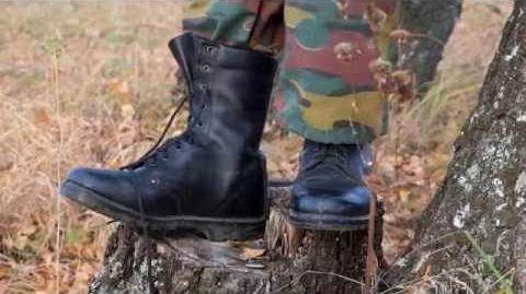 Russian Army officer high boots in autumn forest
