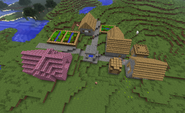 Pink temple village