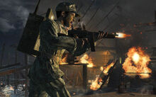 An American Soldier attacking