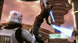 Revan attacking Republic Soldiers