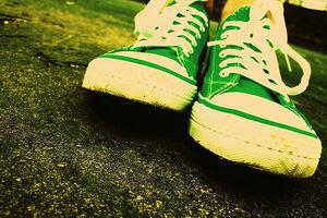 Free Grungy Happy Urban Acid Pop Green Sneakers on Asphalt Creative Commons