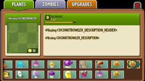Coconut Bowler - Beta Big Wave Beach Plant - Plants vs. Zombies 2
