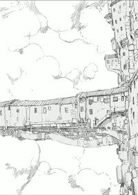 シドニアの騎士第9巻 無題の挿絵 居住塔から伸びる建造物