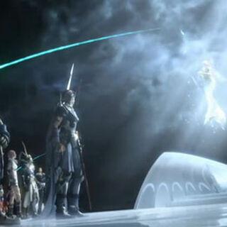 Cosmos frente a los héroes en la secuencia de <i>Dissidia 012</i>