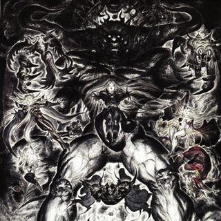 Ilustración de Caos junto a sus guerrero por Amano
