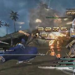 Noel y Serah luchando junto con un <a class=