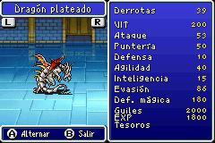 Estadisticas Dragon Plateado