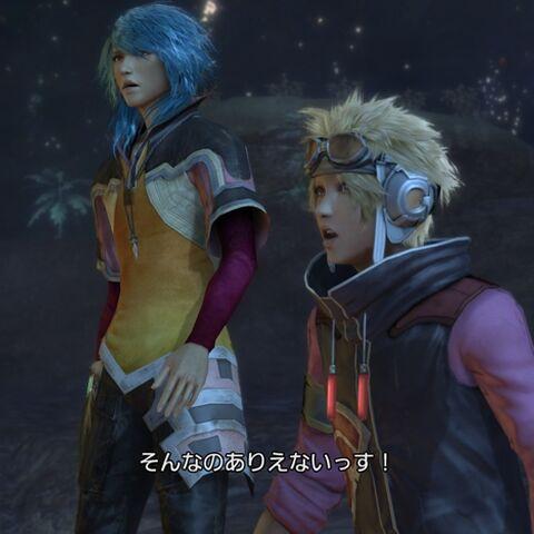 Maqui junto a Yuj en <i>FFXIII-2</i>