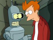 Fry y Bender en un departamento para robots