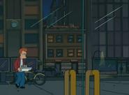 Fry caminando con pizza