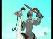 Caballeros montando avestruces
