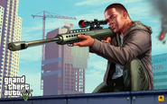 Grand Theft Auto V Artwork - Franklin apuntando con un rifle de francotirador