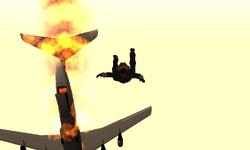 Carl cayendo en paracaídas.