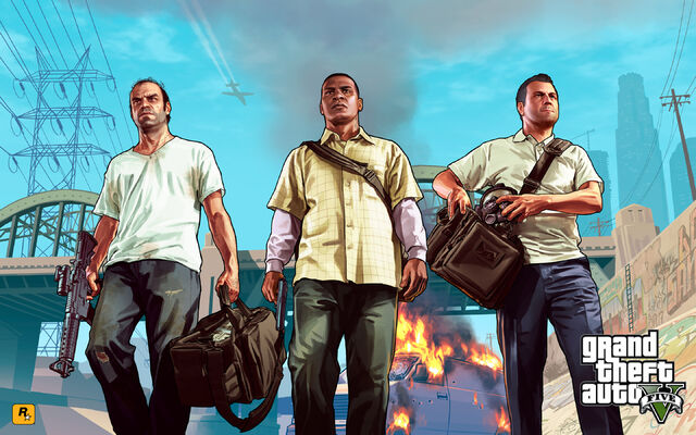 Archivo:Official Gta V Artwork Trevor, Franklin, Michael.jpg