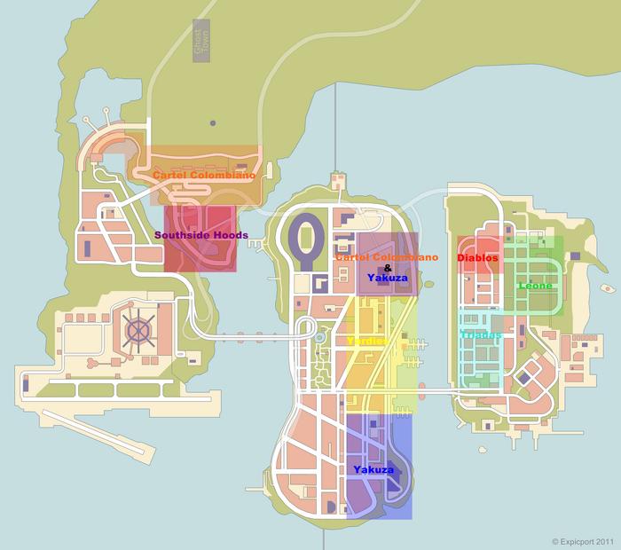 Mapa de las bandas de GTA III