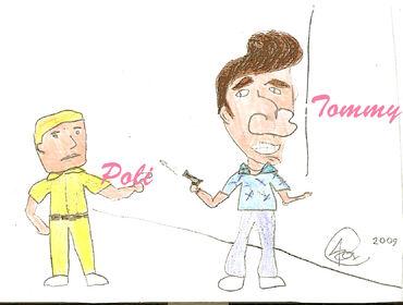 Caricatura Tommy y poli