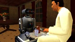 El domestobot sirviendo al cliente