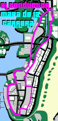El conductor mapa de la carrera