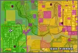 GTA San Andreas - Mapa glitch de los territorios