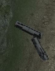 Tercera vista del tren descarrilado
