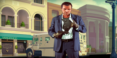 GTA V Artwork - Michael frente a Vangelico