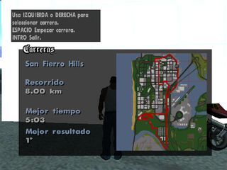 Mapa del recorrido de San Fierro Hills