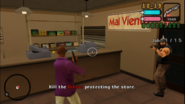Extorsión ataca los miembros de la banda que protegen la tienda