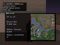Mapa del recorrido de SF to LV
