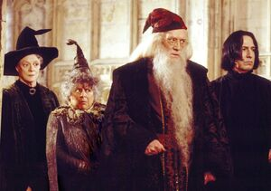 Dumbledore, McGonagall, Sprout y Snape