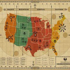 Mapa de los Estados Unidos de América, con puntos donde muestra la utilización de hechizos.