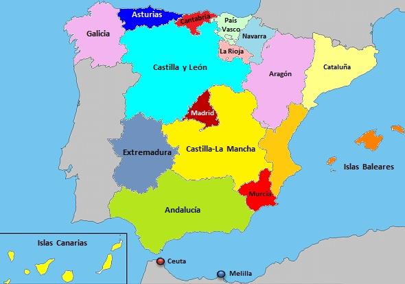 Imagen   Mapa de espana por comunidades. | Harry Potter Wiki