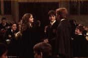 Hermione y Ron se saludan