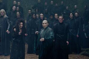 P7 Mortífagos con Voldemort durante la batalla