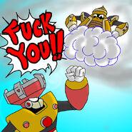 Cloud Man beats Solar Man by aoimaru2