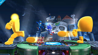 Mega Man y Sonic enfrentandose a Yellow Devil - (SSB. for Wii U)