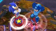 Sonic y Mega Man realizando sus respectivos Jump Springs - (SSB. for Wii U)
