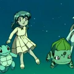 Amber, Mewtwo y los clones de Squirtle, Charmander y Bulbasaur conectados en un sueño.