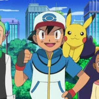 Ash y pikachy iris y axew y millo