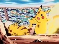 EP113 Pikachu usando cola trueno