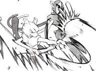Mewtwo usando una cuchara contra Deoxys en el manga