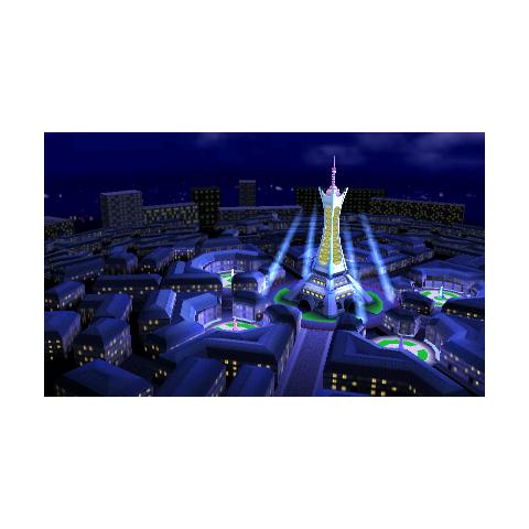 La Ciudad Luminalia de noche en <i>Super Smash Bros. para Nintendo 3DS</i>.