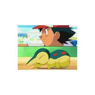 Cyndaquil y Ash en la <a href=