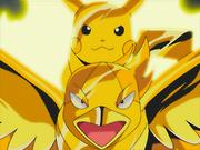 EP376 Swellow y Pikachu de Ash con una armadura de trueno