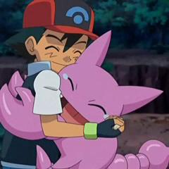Gligar abrazando a Ash.