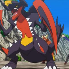 Mega-Garchomp, tras megaevolucionar por primera vez.