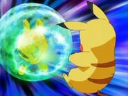 EP472 Elekid usando protección contra Pikachu