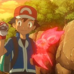 Ash capturando a Noibat.