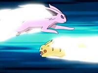EP447 Espeon usando ataque rápido contra ataque rápido de Pikachu