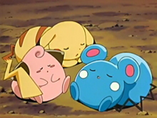 EP411 Pikachu, Cleffa y Azurill durmiendo