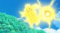 EP953 Pikachu usando bola voltio